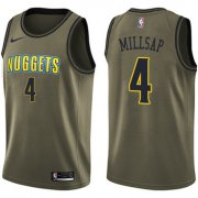Wholesale Cheap Nike Denver Nuggets #4 Paul Millsap Green Salute to Service NBA Swingman Jersey