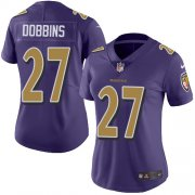 Wholesale Cheap Nike Ravens #27 J.K. Dobbins Purple Women's Stitched NFL Limited Rush Jersey