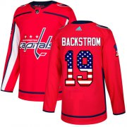 Wholesale Cheap Adidas Capitals #19 Nicklas Backstrom Red Home Authentic USA Flag Stitched NHL Jersey
