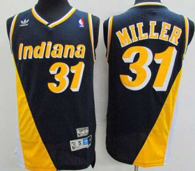 Wholesale Cheap Men\'s Indiana Pacers #31 Reggie Miller Navy Blue With Yellow Hardwood Classics Soul Swingman Throwback Jersey