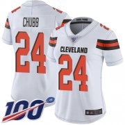 Wholesale Cheap Nike Browns #24 Nick Chubb White Women's Stitched NFL 100th Season Vapor Limited Jersey