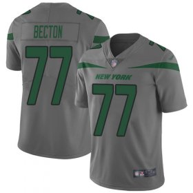 Wholesale Cheap Nike Jets #77 Mekhi Becton Gray Youth Stitched NFL Limited Inverted Legend Jersey