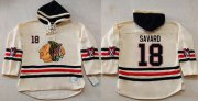 Wholesale Cheap Blackhawks #18 Denis Savard Cream Heavyweight Pullover Hoodie Stitched NHL Jersey