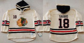 Wholesale Blackhawks #18 Denis Savard Cream Heavyweight Pullover Hoodie Stitched NHL Jersey