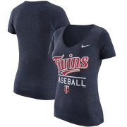 Wholesale Cheap Minnesota Twins Nike Women's Practice 1.7 Tri-Blend V-Neck T-Shirt Heathered Navy