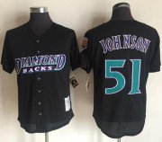 Wholesale Cheap Mitchell And Ness 1999 Diamondbacks #51 Randy Johnson Black Throwback Stitched MLB Jersey