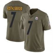 Wholesale Cheap Nike Steelers #7 Ben Roethlisberger Olive Youth Stitched NFL Limited 2017 Salute to Service Jersey