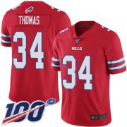 Wholesale Cheap Nike Bills #34 Thurman Thomas Red Men's Stitched NFL Limited Rush 100th Season Jersey