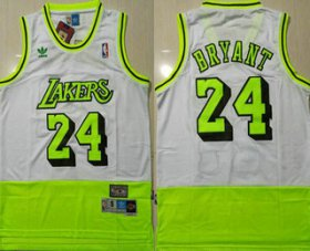 Wholesale Cheap Men\'s Los Angeles Lakers #24 Kobe Bryant White Fluorescent Green Split Hardwood Classics Jersey