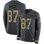 Wholesale Cheap Nike Chiefs #87 Travis Kelce Anthracite Salute to Service Youth Stitched NFL Limited Therma Long Sleeve Jersey
