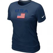 Wholesale Cheap Women's USA Olympics USA Flag Collection Locker Room T-Shirt Dark Blue