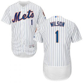 Wholesale Cheap Mets #1 Mookie Wilson White(Blue Strip) Flexbase Authentic Collection Stitched MLB Jersey
