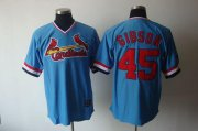 Wholesale Cheap Cardinals #45 Bob Gibson Blue Cooperstown Throwback Stitched MLB Jersey