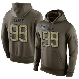 Wholesale Cheap NFL Men\'s Nike Tennessee Titans #99 Jurrell Casey Stitched Green Olive Salute To Service KO Performance Hoodie