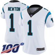 Wholesale Cheap Nike Panthers #1 Cam Newton White Women's Stitched NFL 100th Season Vapor Limited Jersey