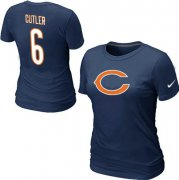 Wholesale Cheap Women's Nike Chicago Bears #6 Jay Cutler Name & Number T-Shirt Blue