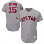 Wholesale Cheap Red Sox #15 Dustin Pedroia Grey Flexbase Authentic Collection 2018 World Series Stitched MLB Jersey