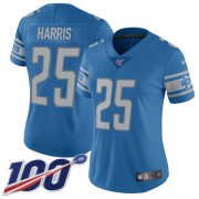 Wholesale Cheap Nike Lions #25 Will Harris Light Blue Team Color Women's Stitched NFL 100th Season Vapor Untouchable Limited Jersey