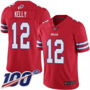 Wholesale Cheap Nike Bills #12 Jim Kelly Red Men's Stitched NFL Limited Rush 100th Season Jersey