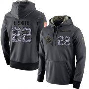 Wholesale Cheap NFL Men's Nike Dallas Cowboys #22 Emmitt Smith Stitched Black Anthracite Salute to Service Player Performance Hoodie