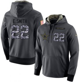 Wholesale Cheap NFL Men\'s Nike Dallas Cowboys #22 Emmitt Smith Stitched Black Anthracite Salute to Service Player Performance Hoodie