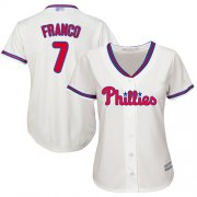 Wholesale Cheap Phillies #7 Maikel Franco Cream Alternate Women's Stitched MLB Jersey