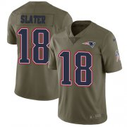 Wholesale Cheap Nike Patriots #18 Matt Slater Olive Youth Stitched NFL Limited 2017 Salute to Service Jersey