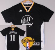 Wholesale Cheap Men's Golden State Warriors #11 Klay Thompson Black Short-Sleeved 2016 The NBA Finals Patch Jersey