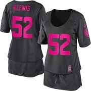 Wholesale Cheap Nike Ravens #52 Ray Lewis Dark Grey Women's Breast Cancer Awareness Stitched NFL Elite Jersey