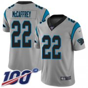 Wholesale Cheap Nike Panthers #22 Christian McCaffrey Silver Youth Stitched NFL Limited Inverted Legend 100th Season Jersey
