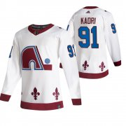 Wholesale Cheap Colorado Avalanche #91 Nazem Kadri White Men's Adidas 2020-21 Reverse Retro Alternate NHL Jersey