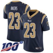 Wholesale Cheap Nike Rams #23 Cam Akers Navy Blue Team Color Men's Stitched NFL 100th Season Vapor Untouchable Limited Jersey