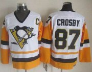 Wholesale Penguins #87 Sidney Crosby White/Black CCM Throwback Stitched NHL Jersey