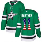 Wholesale Cheap Adidas Stars #11 Mike Gartner Green Home Authentic USA Flag Stitched NHL Jersey