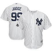 Wholesale Cheap New York Yankees #99 Aaron Judge Majestic 2019 London Series Cool Base Player Jersey White Navy