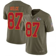 Wholesale Cheap Nike Chiefs #87 Travis Kelce Olive Youth Stitched NFL Limited 2017 Salute to Service Jersey