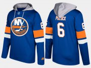 Wholesale Cheap Islanders #6 Ryan Pulock Blue Name And Number Hoodie