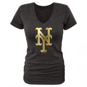 Wholesale Cheap Women's New York Mets Fanatics Apparel Gold Collection V-Neck Tri-Blend T-Shirt Black