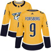 Wholesale Cheap Adidas Predators #9 Filip Forsberg Yellow Home Authentic Women's Stitched NHL Jersey