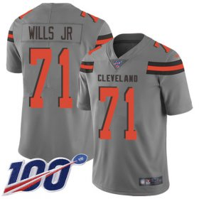 Wholesale Cheap Nike Browns #71 Jedrick Wills JR Gray Youth Stitched NFL Limited Inverted Legend 100th Season Jersey