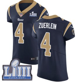Wholesale Cheap Nike Rams #4 Greg Zuerlein Navy Blue Team Color Super Bowl LIII Bound Men\'s Stitched NFL Vapor Untouchable Elite Jersey