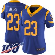 Wholesale Cheap Nike Rams #23 Cam Akers Royal Blue Alternate Women's Stitched NFL 100th Season Vapor Untouchable Limited Jersey