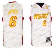 Wholesale Cheap Miami Heat #6 LeBron James Revolution 30 Swingman White With Gold Jersey