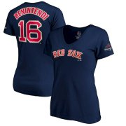Wholesale Cheap Boston Red Sox #16 Andrew Benintendi Majestic Women's 2019 Gold Program Name & Number V-Neck T-Shirt Navy