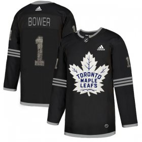 Wholesale Cheap Adidas Maple Leafs #1 Johnny Bower Black Authentic Classic Stitched NHL Jersey