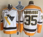 Wholesale Cheap Penguins #35 Tom Barrasso White/Yellow CCM Throwback 2017 Stanley Cup Finals Champions Stitched NHL Jersey