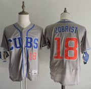 Wholesale Cubs #18 Ben Zobrist Grey Flexbase Authentic Collection Alternate Road Stitched Baseball Jersey