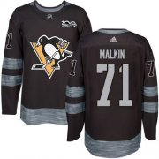 Wholesale Cheap Adidas Penguins #71 Evgeni Malkin Black 1917-2017 100th Anniversary Stitched NHL Jersey