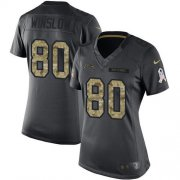 Wholesale Cheap Nike Chargers #80 Kellen Winslow Black Women's Stitched NFL Limited 2016 Salute to Service Jersey