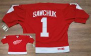 Wholesale Cheap Red Wings #1 Terry Sawchuk Stitched Red CCM Throwback NHL Jersey